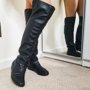 DV by Dolce Vita Black Leather Over Knee Boots 6.5